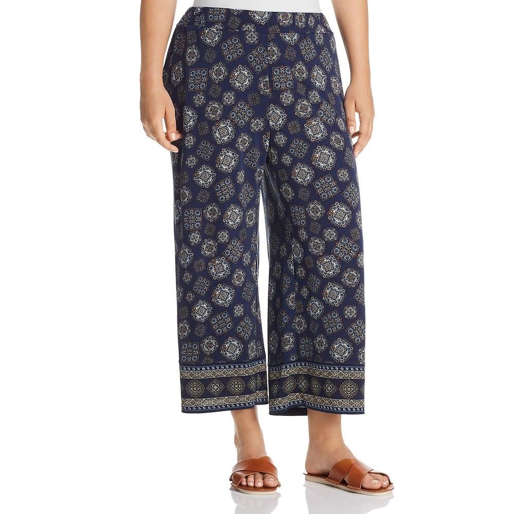 MICHAEL Michael Kors Womens Plus Cropped Pants Wide Leg Pull On - True Navy/Dark Chambray