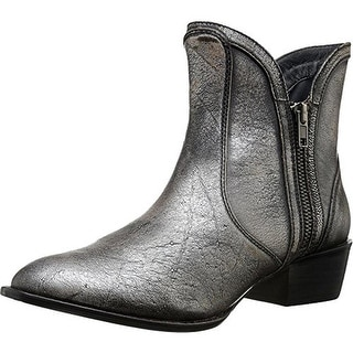 Very Volatile Womens Moffit Leather Metallic Ankle Boots - 6