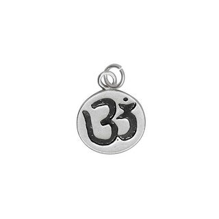 Sterling Silver Charm, Om / Aum Symbol with Jump Ring 15x11.5mm, 1 Piece
