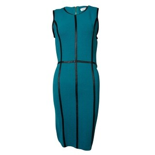 Calvin Klein Women's Faux Leather Trim Textured Knit Dress - EVERGREEN - m
