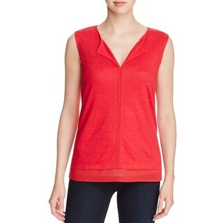 Sanctuary Womens Hanna Tank Top Linen Chiffon Trim