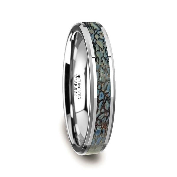 DEVONIAN Polished Flat Style Tungsten Carbide Wedding Ring with Blue Dinosaur Bone Inlay and Polished Beveled Edges Comf