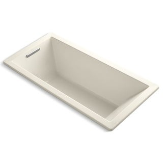 """Kohler K-1821 Underscore 66"""" x 32"""" Drop In Soaking Bath Tub with Reversible Drain, Molded Lumbar Support, and Slotted Overflow"""