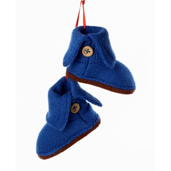 "4"" Tween Christmas Blue Knit Boots with Beige Buttons Winter Ornament"