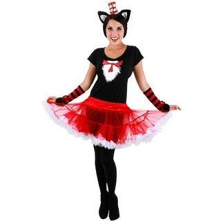 Elope Dr Seuss Cat in the Hat Adult Tutu Costume (S/M) - Red/Black - Small/Medium