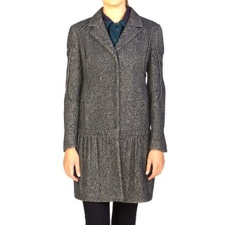 Prada Women's Wool Cashmere Blend Ribbed Overcoat Grey - 44