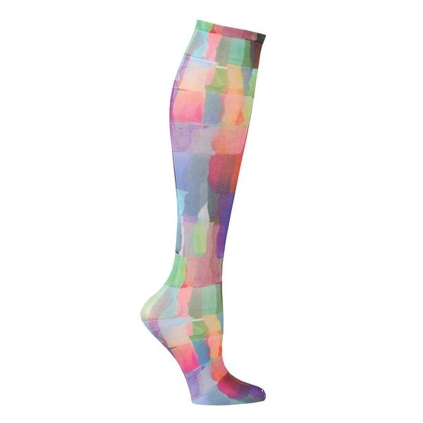 Celeste Stein Women's Mild Compression Knee High Stockings - Rainbow Tiles - Medium