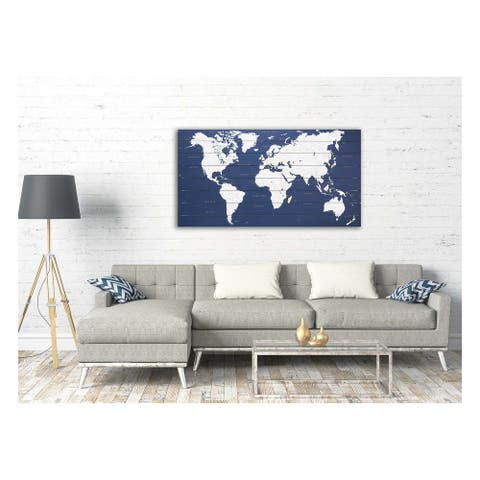 Gallery 57 Blue World Map 25x50 Print on Planked Wood Wall Art