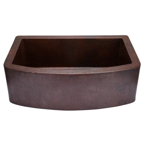 """Miseno MC3320F 33"""" Single Basin 14-Gauge Hammered Copper Kitchen Sink for Farmhouse Installations - Matching Disposal Flange"""