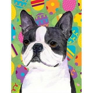28 x 40 In. Boston Terrier Easter Eggstravaganza Flag Canvas,
