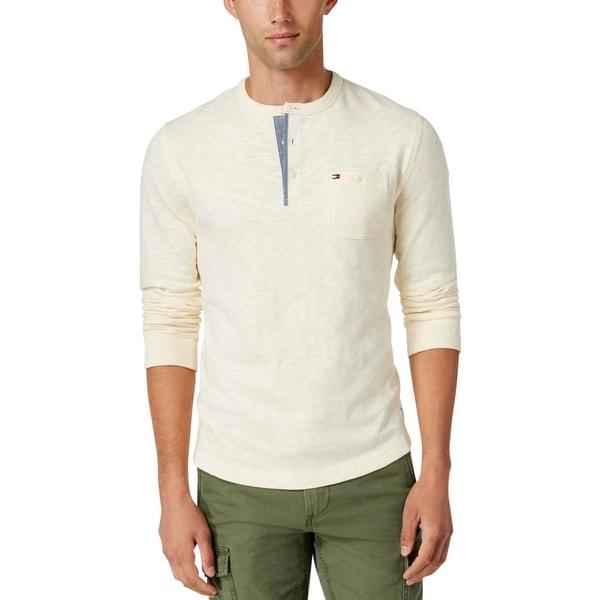 83211b3a Shop Tommy Hilfiger Mens Henley Shirt Slub Long Sleeves - Free ...