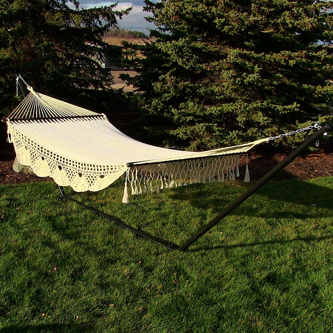 Sunnydaze American DeLuxe Style Mayan Hammock or Hammock w/ Stand Option - Antique White - Thumbnail 0