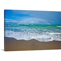 Premium Thick-Wrap Canvas entitled Rainbow over ocean.