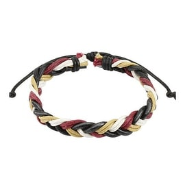 Wine Red Multi Colored Braided Leather Bracelet with Drawstrings (10 mm) - 7.5 in