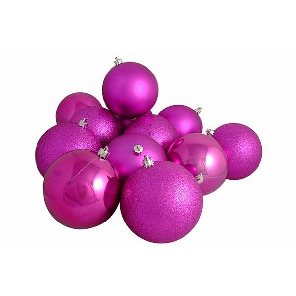 "12ct Pink Magenta Shatterproof 4-Finish Christmas Ball Ornaments 4"" (100mm)"