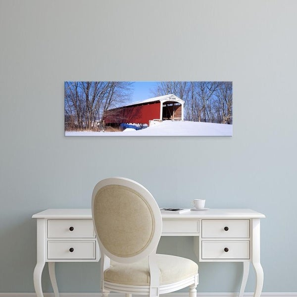 Easy Art Prints Panoramic Images's 'Neet Covered Bridge Parke Co IN USA' Premium Canvas Art