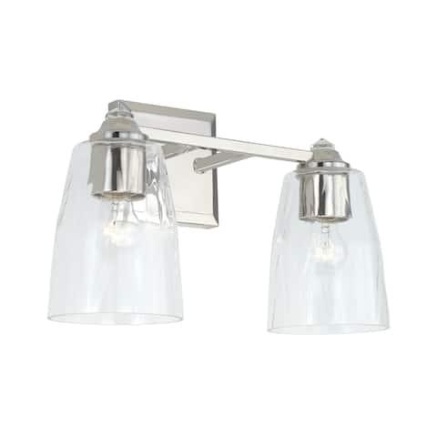 Laurent Polished Nickel Bath/ Vanity Fixture w/ Clear Glass & Crystal Finials