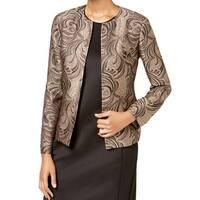 Kasper Gold Black Women's Size 4 Brocade Flyaway Blazer Jacket