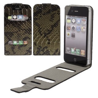Unique Bargains Black Green Snake Print Phone Pouch Case Cover Protector for iPhone 4 4S 4th Gen