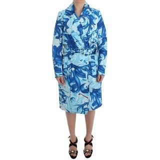 Koonhor Koonhor Blue Tempestuous Fresco-Print Trench Coat Jacket - it40-s