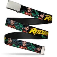 "Blank Chrome 1.0"" Buckle Robin Red Green Poses Black Webbing Web Belt 1.0"" Wide - S"