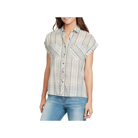 William Rast Womens Kinsley Casual Top Button-Down Tie-Back