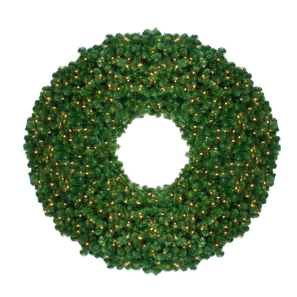 Pre-Lit Olympia Pine Artificial Christmas Wreath - 60 Inch, Clear Lights - green