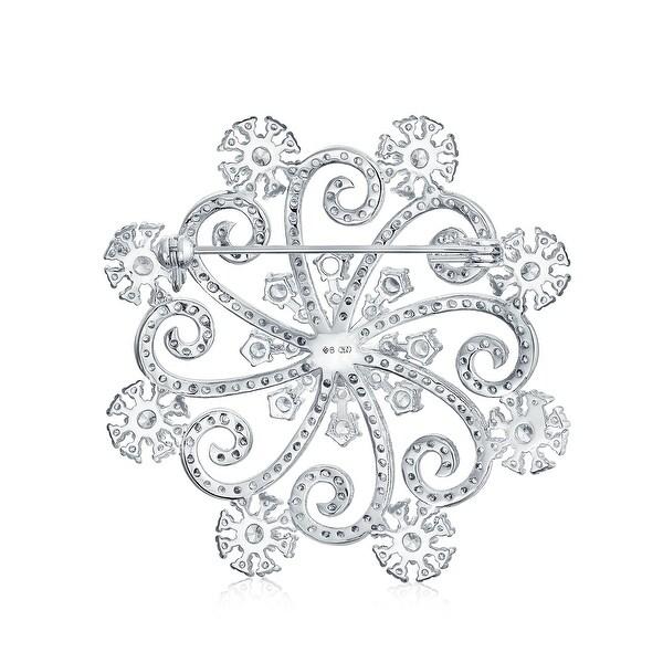 Winter Lady Snowflake Fashion Brooch Crystal Rhinestones Jewelry Christmas Gift