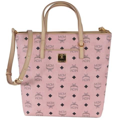 MCM Pink Coated Canvas Visetos Small Zip Top Shopper Crossbody Bag