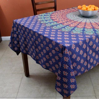 Handmade Cotton Sanganer Peacock Floral Rectangular Tablecloth 60 x 90 Inches Green Blue Red Orange