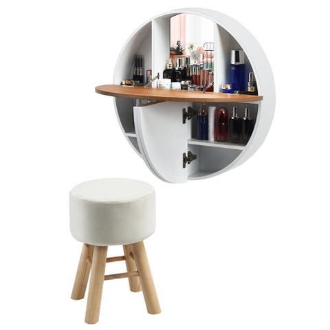 Gymax Wall Mounted Vanity Set Round Makeup Dressing Table & Stool Set