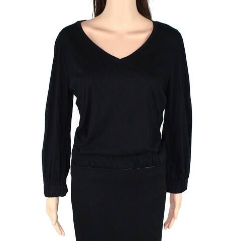 LAmade Womens Top Black Size Medium M Knit V-neck Stretch Long Sleeve