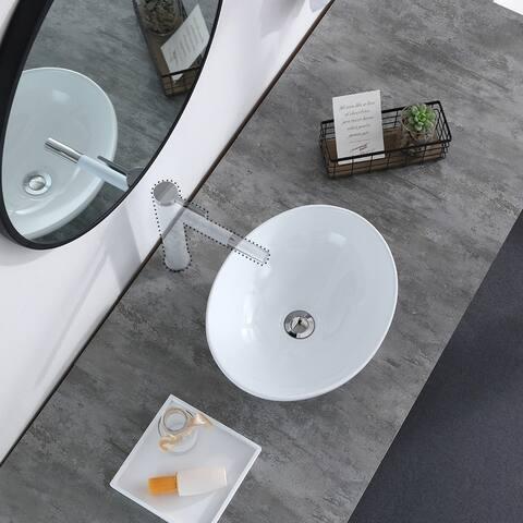 Above Counter Bathroom Sink Oval Bowl Ceramic Sink White Porcelain