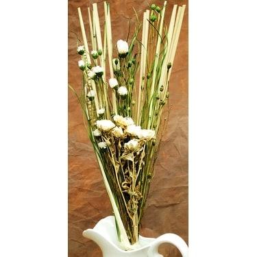 White Dried Rose Flower Bouquet Green 32in Tall Width 10in