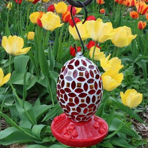 Sunnydaze Outdoor Red Mosaic Glass Flower Hanging Hummingbird Feeder - 7-Inch