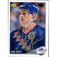 Signed Graves Adam New York Rangers 1992 Upper Deck Hockey Card autographed