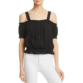 Guess Womens Delta Button-Down Top Smocked Off the Shoulder
