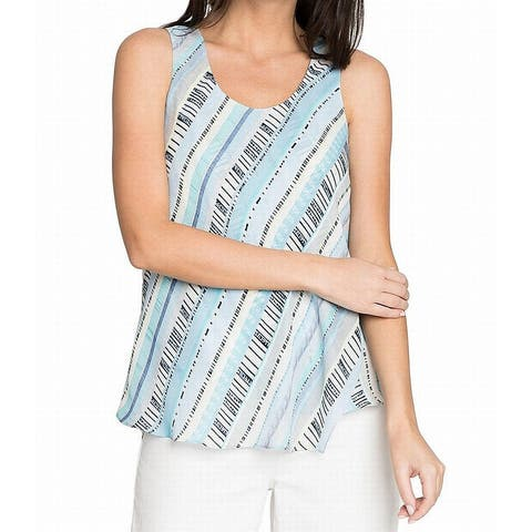 NIC+ZOE White Womens Size Small S Scoop Neck Printed Tank Top