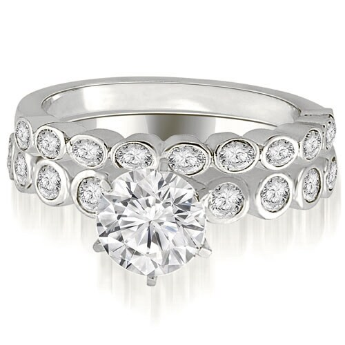 0.94 cttw. 14K White Gold Bezel Set Round Cut Diamond Bridal Set