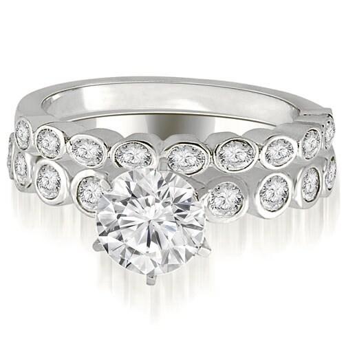 1.19 cttw. 14K White Gold Bezel Set Round Cut Diamond Bridal Set