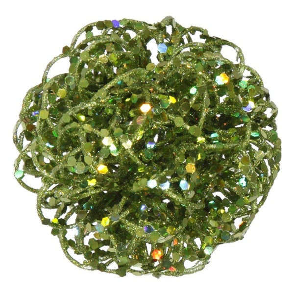 "3.5"" Sparkling Green Kiwi Curly Ball Christmas Ornament"