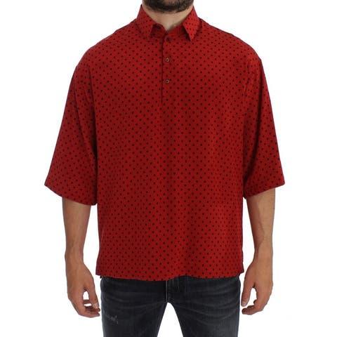 Red Black Polka Silk Polo Men's T-shirt