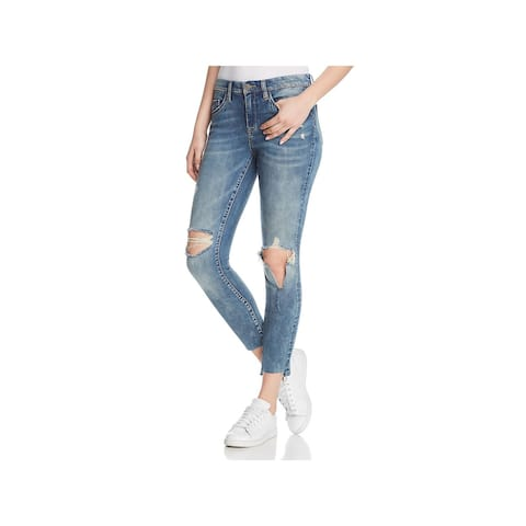 Blank NYC Womens Skinny Jeans Destroyed Raw Hem