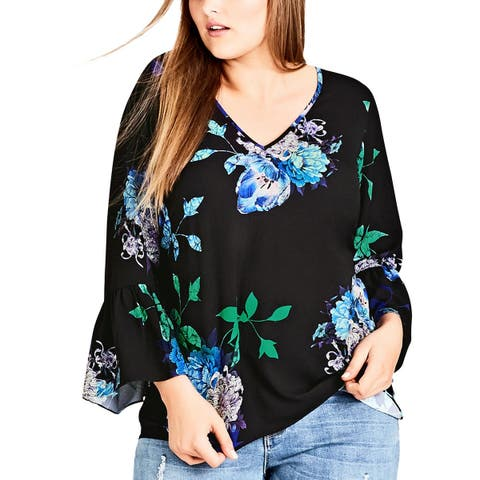 City Chic Womens Plus Blouse Floral Print Bell Sleeves