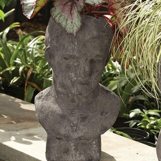 19.75 Weathered Gray Male Relic Bust Decorative Garden Planter