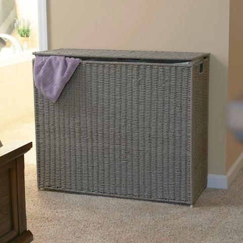 Household Essentials Paper Rope 3-Bag Hamper Sorter, Grey, 28.25H x 33W x 14D