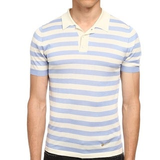 Marc Jacobs NEW Blue Mens Size XL Yarn Dyed Polo Striped Sweater