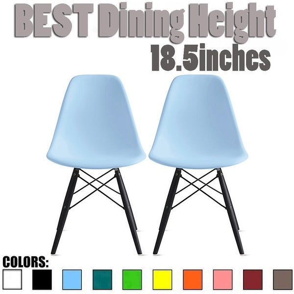 Set of 2 Modern Side Dining Chair Color With Dark Black Wood Legs For Kitchen Eiffel Dowel Work Office Restaurant. Opens flyout.