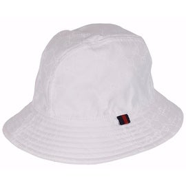 New Gucci Men's 387558 WHITE GG Guccissima Nylon Bucket Rain Hat SMALL 57 CM