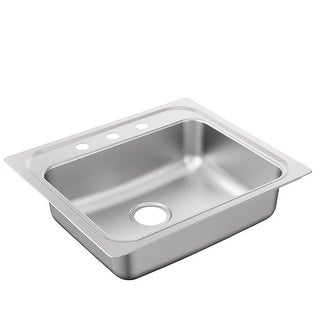 """Moen G221963B  2200 Series 25"""" Drop In Single Basin Stainless Steel Kitchen Sink with 3 Faucet Holes and Rear Drain"""